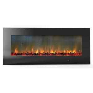 Hanover Fireside 56 inch Wall-Mount Electric Fireplace in Black with Burning Log Display by Electric Fireplaces