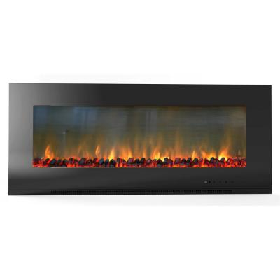 Fireside 56 in. Wall-Mount Electric Fireplace in Black with Burning Log Display