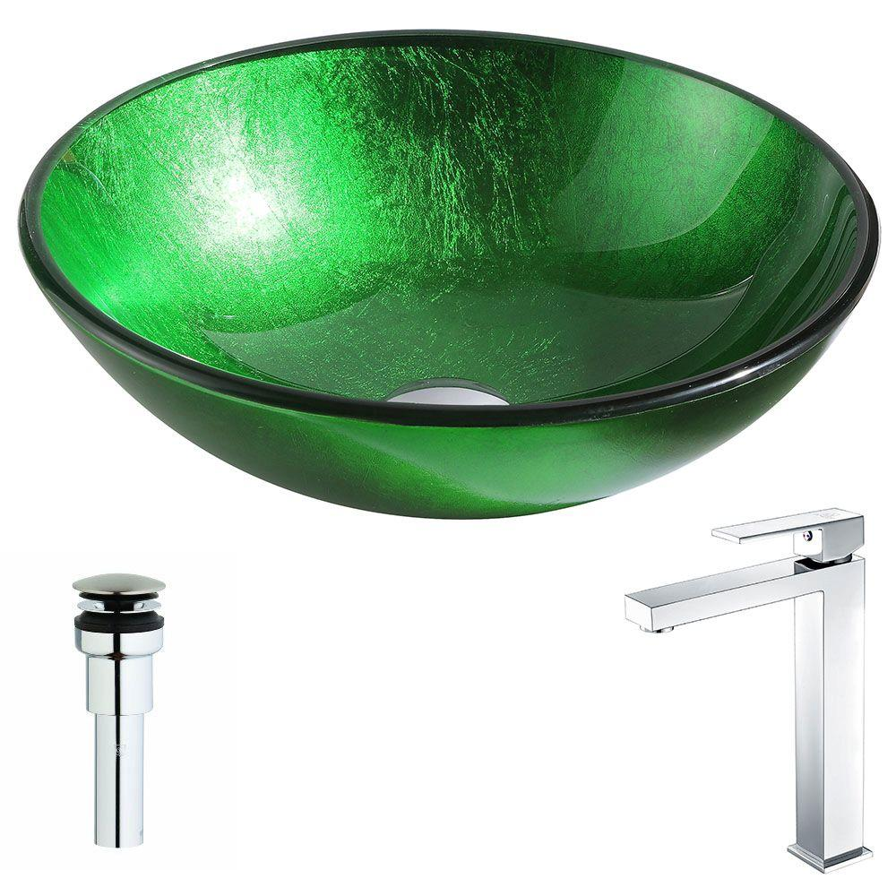 ANZZI Melody Series Deco-Glass Vessel Sink in Lustrous Green with Enti Faucet in Polished Chrome, Lustrous Green Finish was $323.99 now $259.19 (20.0% off)