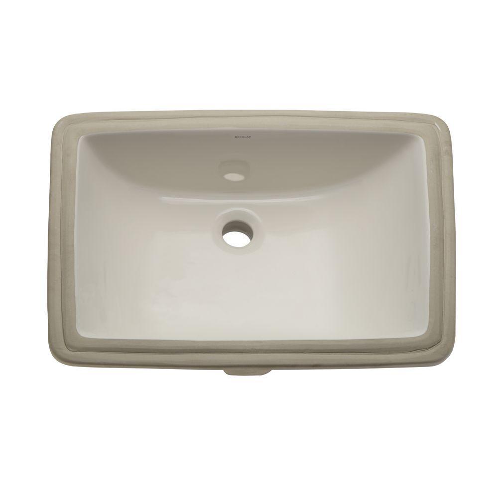 Classically Redefined Rectangular Undermount Bathroom Sink in Biscuit