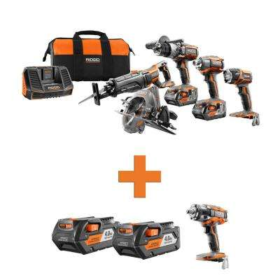 18-Volt Lithium-Ion Cordless 5-Tool Combo w/Bonus (2) 4.0Ah Battery Packs & OCTANE Brushless Impact Wrench