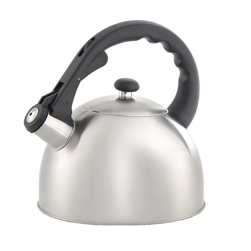 Creative Home Satin Splendor 11.2-Cup Stovetop Tea Kettle in Silver