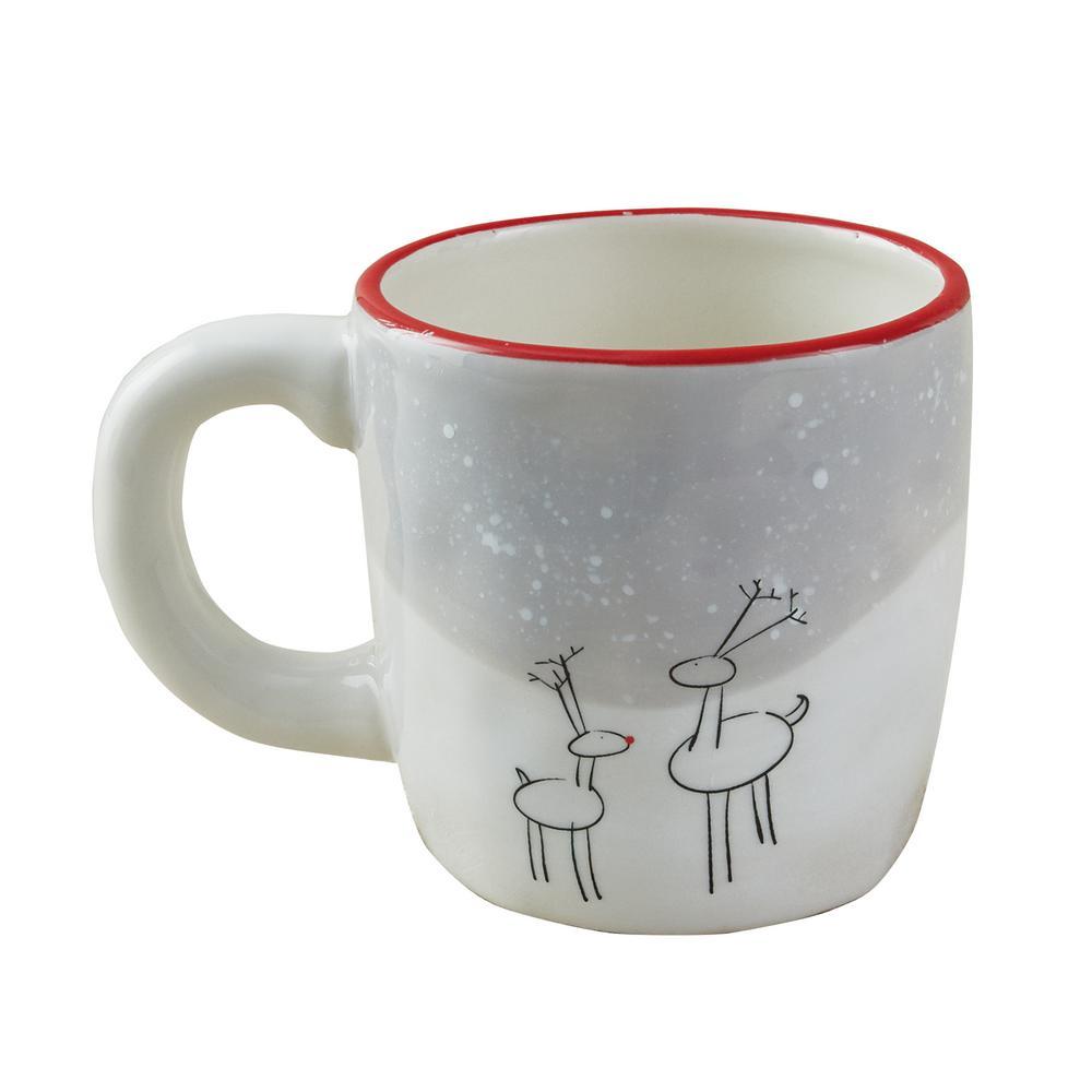 Reindeer Games 14 oz. White Ceramic Coffee Mug (Set of 4)