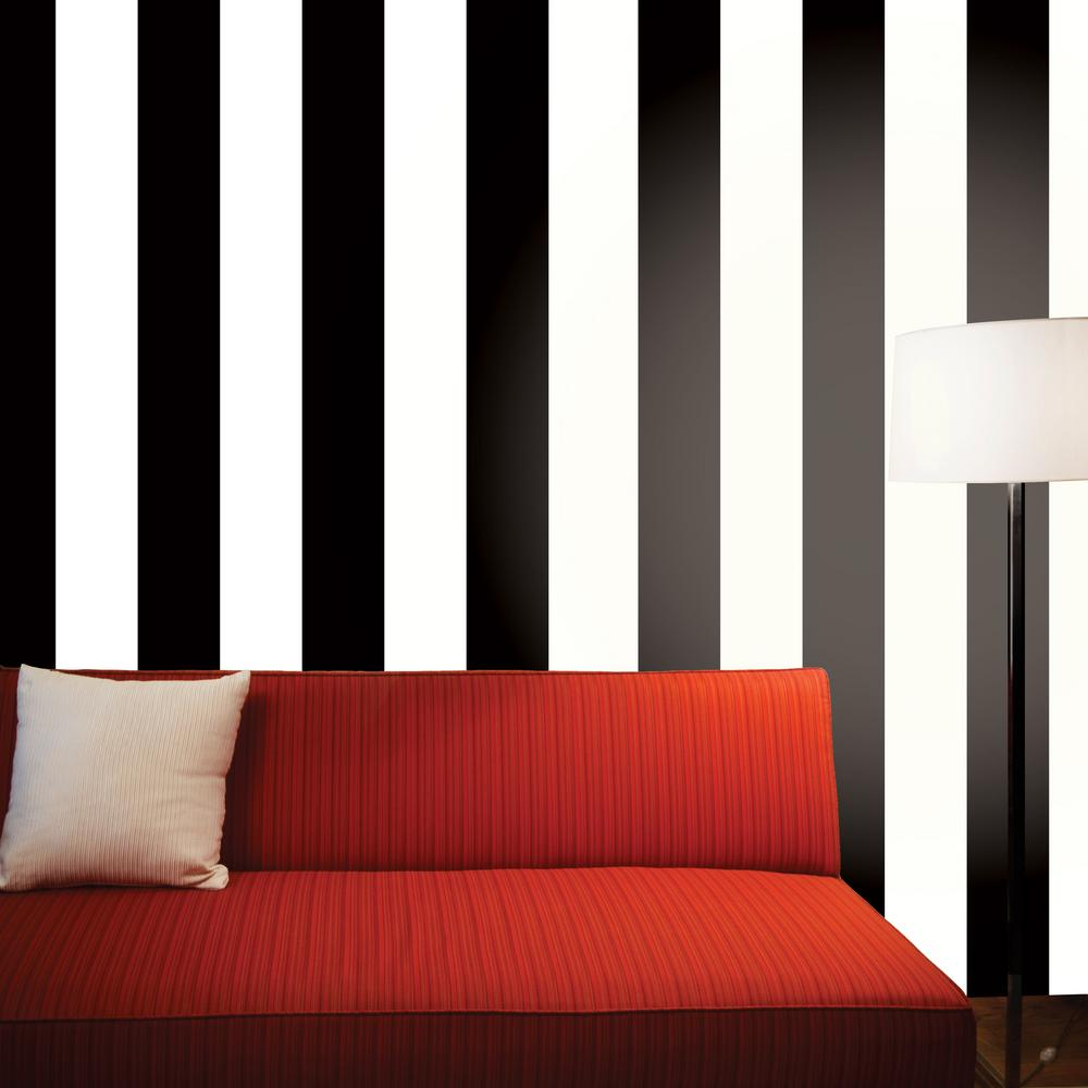 Tempaper stripe black and white self adhesive removable for White self adhesive wallpaper