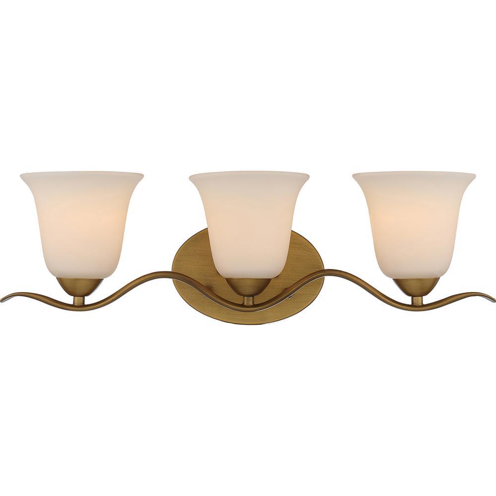 3-Light Natural Brass Bath Light