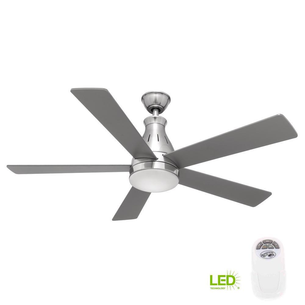 Hampton Bay Cobram 48 in. Integrated LED Indoor Nickel Ceiling Fan ...