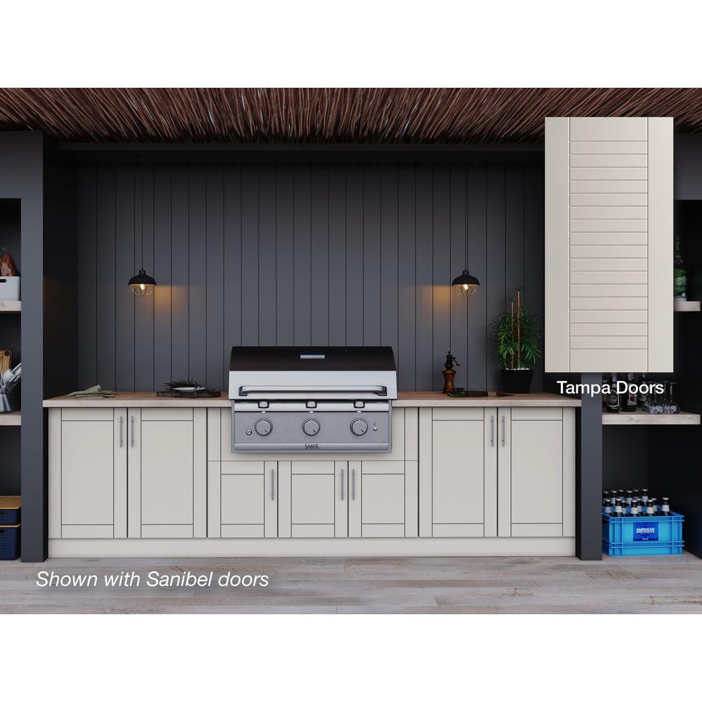 Tampa Shoreline Gray 17-Piece 121.25 in. x 34.5 in. x 28 in. Outdoor Kitchen Cabinet Set