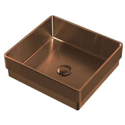 Noah Plus 15-3/4 in. Semi-Recessed Drop-In Bathroom Sink in Copper with Matching Center Drain