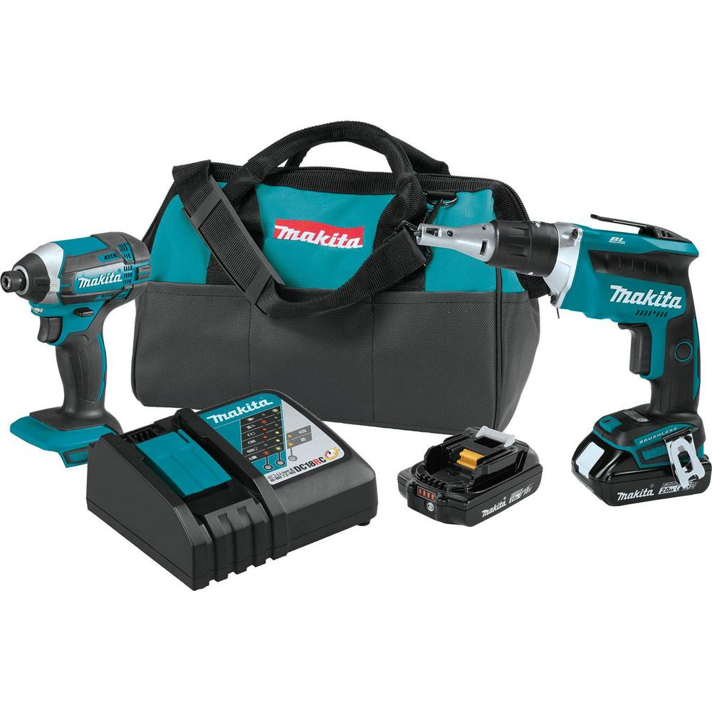 Makita 18-Volt 2.0Ah LXT Lithium-Ion Compact Cordless Combo Kit (2-Piece) (Impact Driver/ Brushless Drywall Screwdriver)