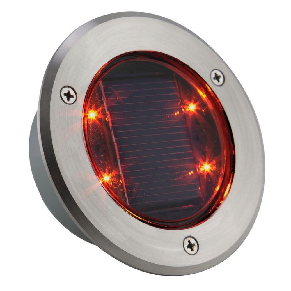 Sun Dot Stainless Steel Solar Powered Led Red Light Sd R