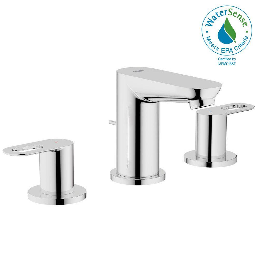BauLoop 8 in. Widespread 2-Handle Low Arc Bathroom Faucet in Starlight Chrome
