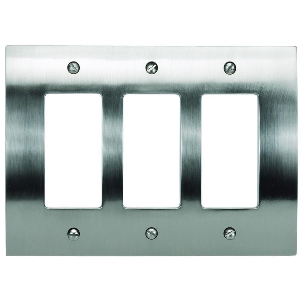 Atlas Homewares Zephyr 3 Rocker Metal Wall Plate - Brushed Nickel by Atlas Homewares