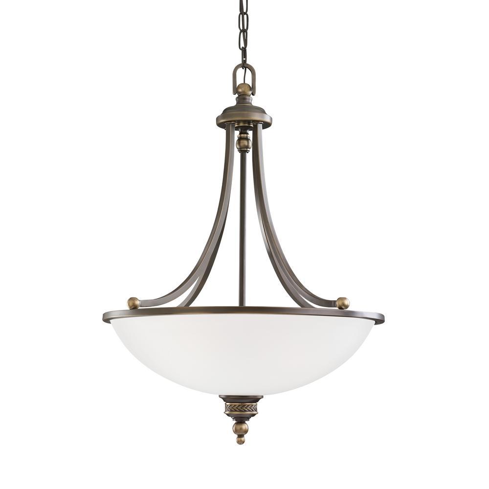 Laurel Leaf 3-Light Estate Bronze Pendant with LED Bulbs