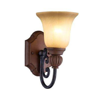 Elysia Collection Antiqued Gold Vanity Light with Elegant Iridescent Amber Glass Shade