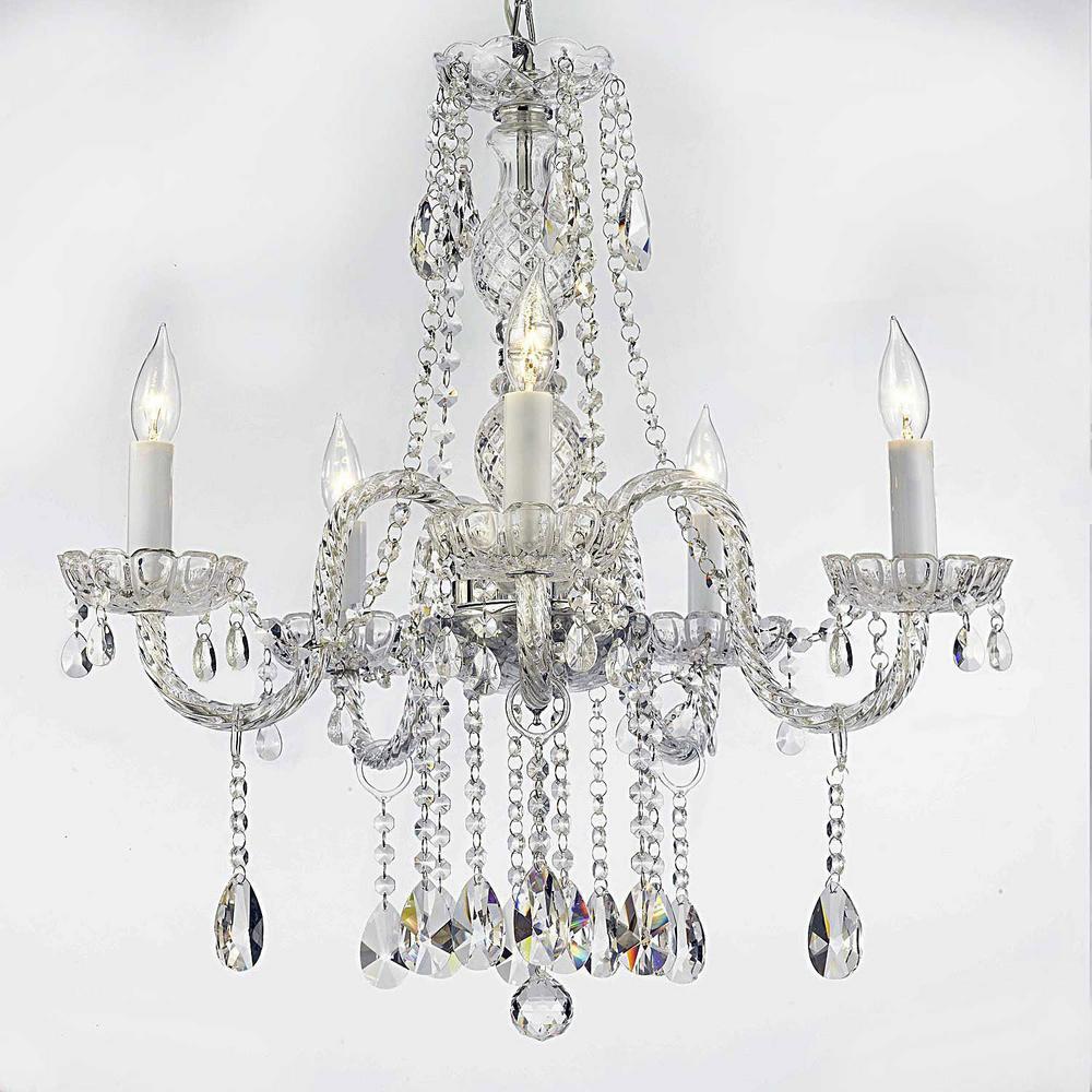 Empress crystal 5 light clear crystal chandelier t40 119 the home empress crystal 5 light clear crystal chandelier aloadofball Images