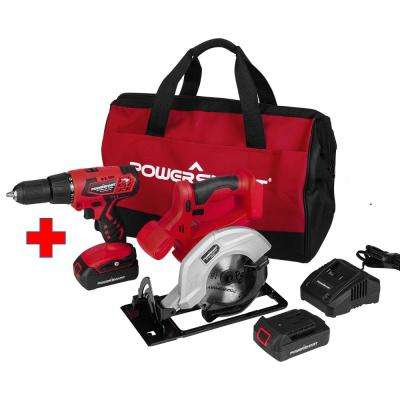 20-Volt Cordless Drill/Circular Saw Combo Kit (2-Tool) with 2-Batteries 1.5 Ah and Charger