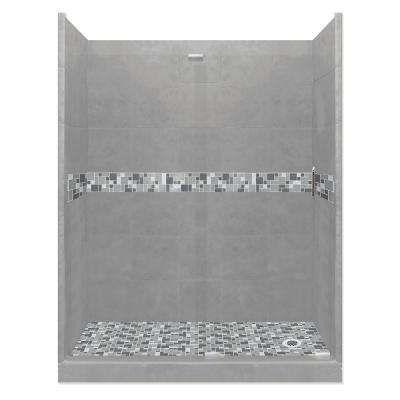 Newport Grand Slider 30 in. x 60 in. x 80 in. Right Drain Alcove Shower Kit in Wet Cement and Satin Nickel Hardware