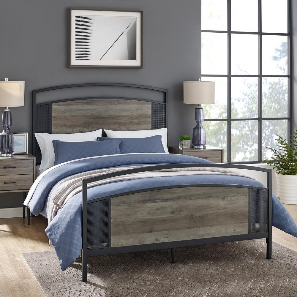 Grey Wash Queen Panel Bed