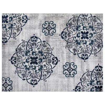 Montvale Collection Contemporary Medallion Ivory 7 ft. 8 in. x 9 ft. 8 in. Area Rug