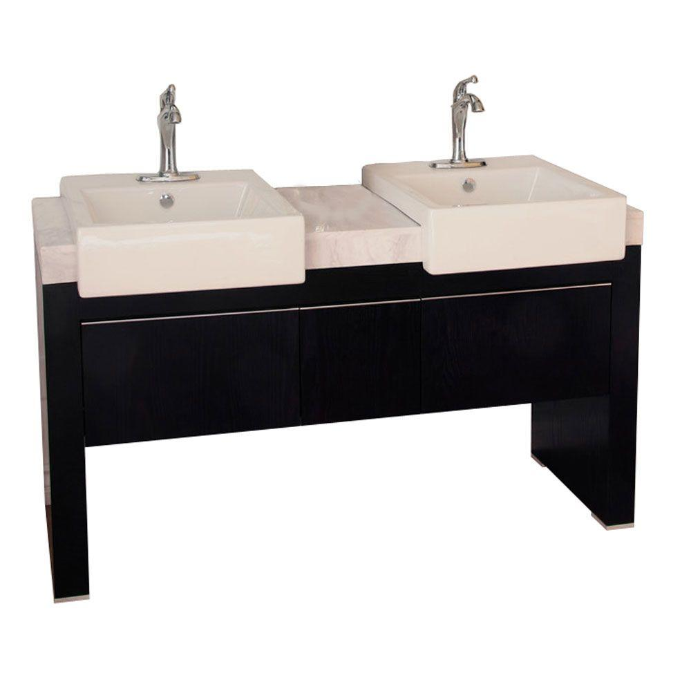 Bellaterra Home Crawley 58 in. W Double Vanity in Black with Marble Vanity Top in White