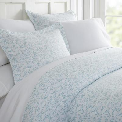 Burst of Vines Patterned Performance Light Blue Queen 3-Piece Duvet Cover Set