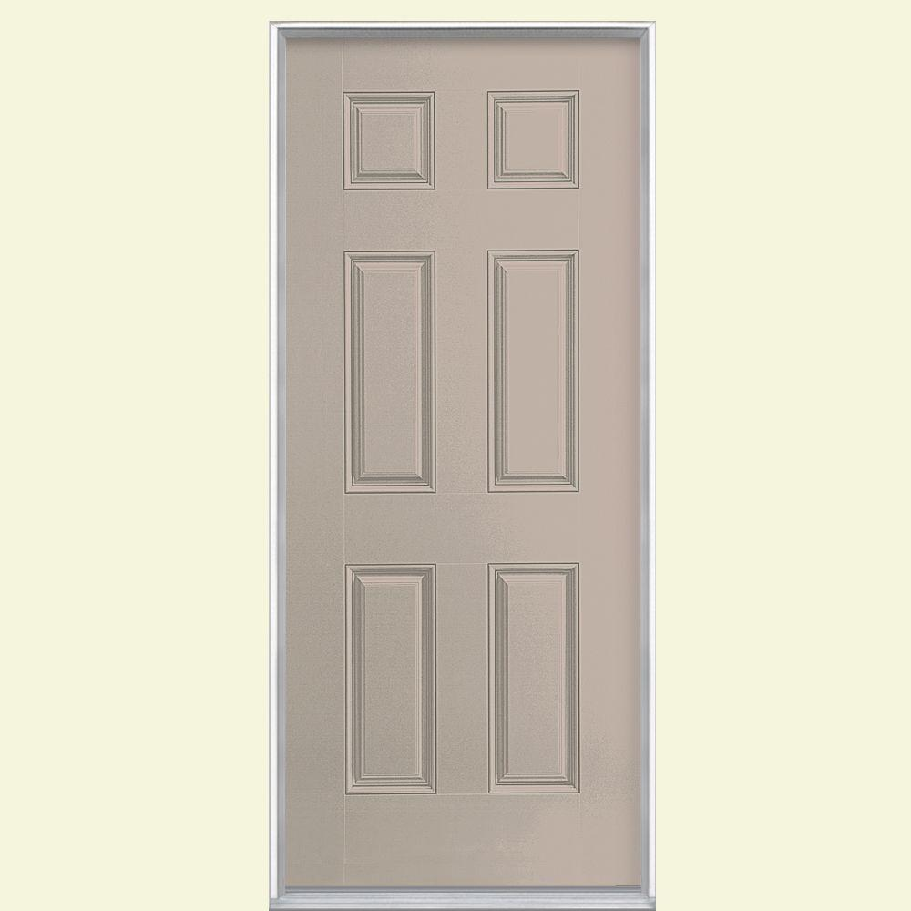 Masonite 36 in. x 80 in. 6-Panel Right-Hand Inswing Painted Smooth Fiberglass Prehung Front Door No Brickmold, Canyon View