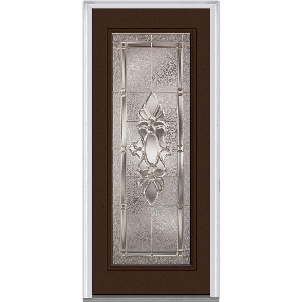 32 in. x 80 in. Heirloom Master Left-Hand Inswing Full Lite Decorative Painted Steel Prehung Front Door