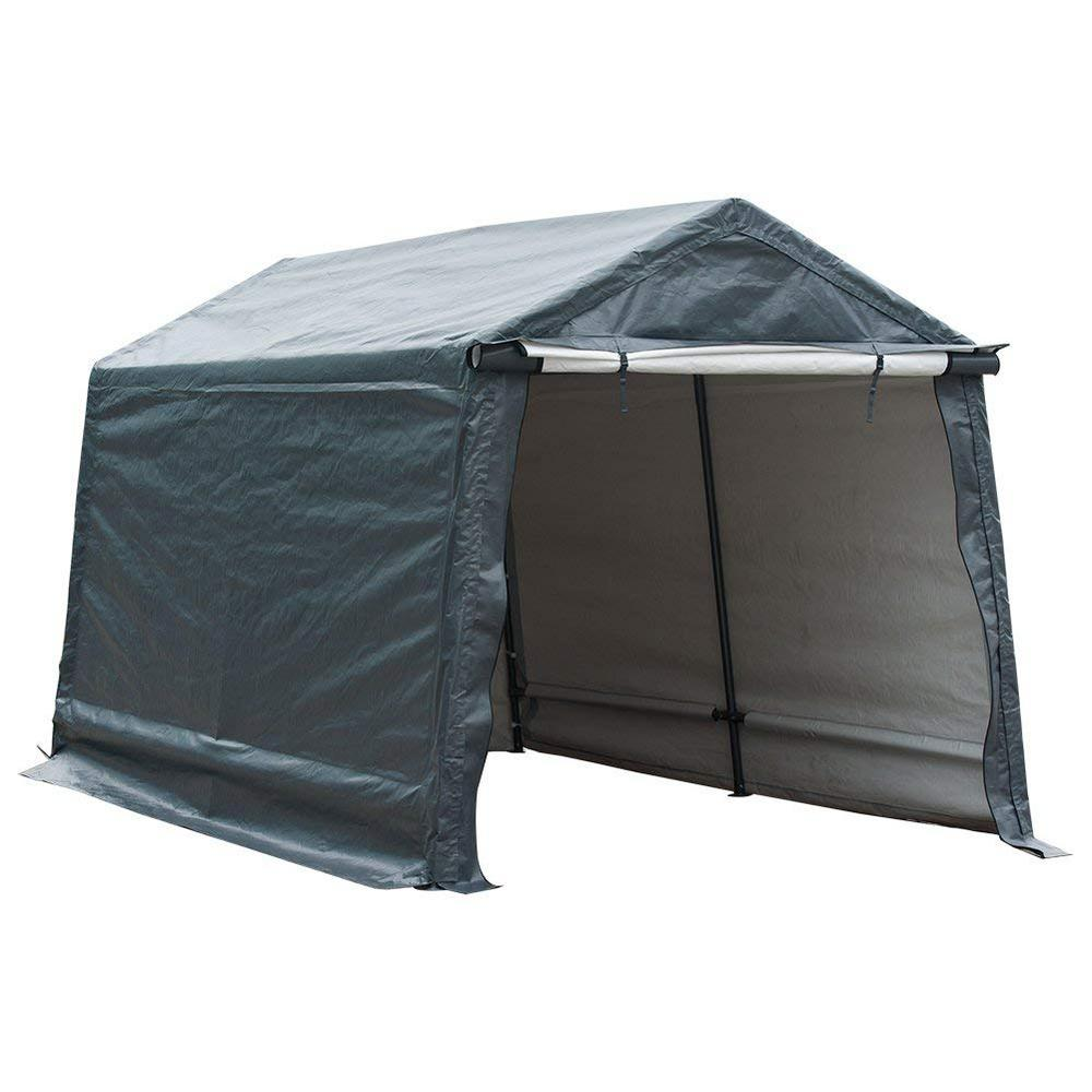 new styles 72fea 78adc Abba Patio Storage Shelter 8 ft. x 14 ft. Grey Outdoor Shed Heavy-Duty  Canopy