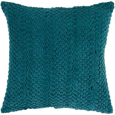 Vorkuta Teal Solid Polyester 18 in. x 18 in. Throw Pillow