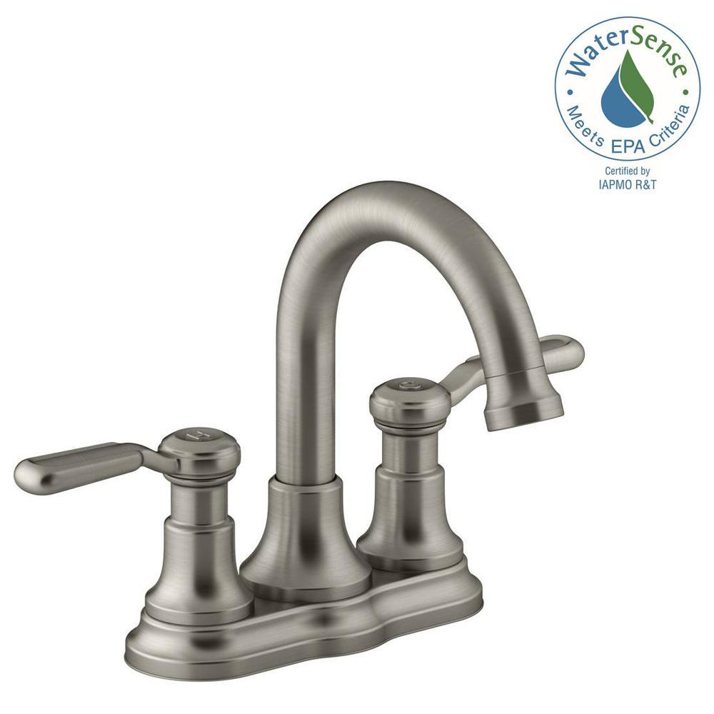 KOHLER Worth 4 in. Centerset 2-Handle Bathroom Faucet in Vibrant Brushed  Nickel