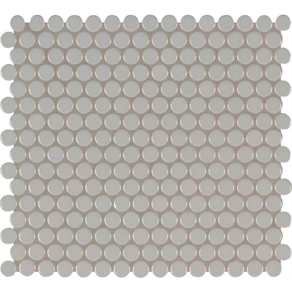 Msi Gray Glossy Penny Round 11 57 In X 12 4 10 Mm Porcelain