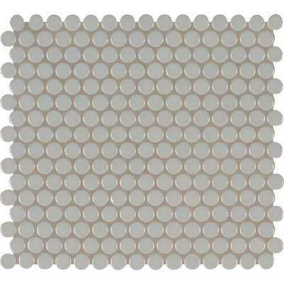 Gray Glossy Penny Round 11.57 in. x 12.4 in. x 10 mm Porcelain Mesh-Mounted Mosaic Tile (19.93 sq. ft. / case)