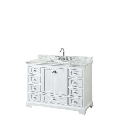 Deborah 48 in. W x 22 in. D Vanity in White with Marble Vanity Top in Carrara White with White Basin