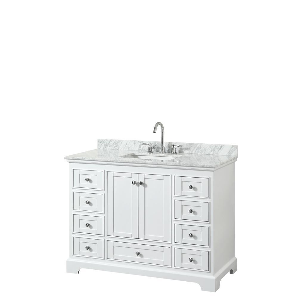 Deborah 48 in. W x 22 in. D Vanity in White with Marble Vanity Top in Carrara White with White Basin