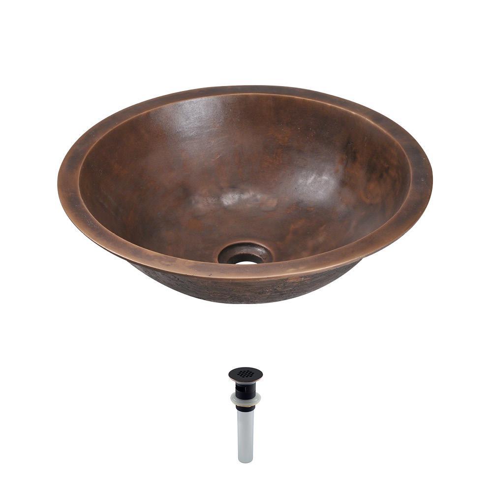 Dual-Mount Bathroom Sink in Bronze with Grid Drain in Antique Bronze