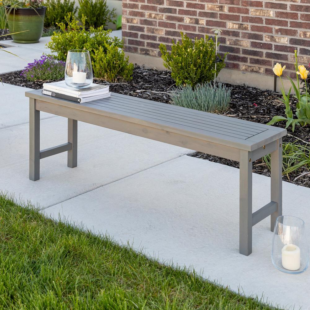 Boardwalk Grey Wash Acacia Wood Outdoor Bench