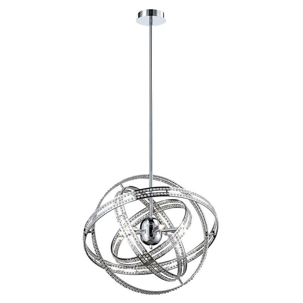 Ace Collection 6-Light Chrome and Clear Pendant
