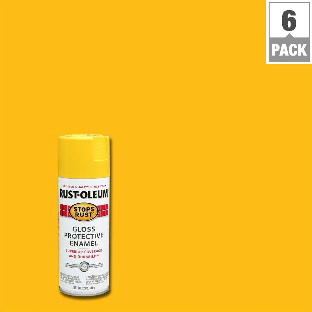 Rust-Oleum Stops Rust 12 oz. Protective Enamel Gloss Sunburst Yellow Spray Paint (6-Pack)