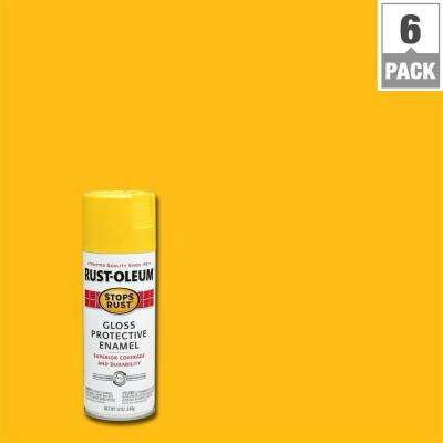 12 oz. Protective Enamel Gloss Sunburst Yellow Spray Paint (6-Pack)
