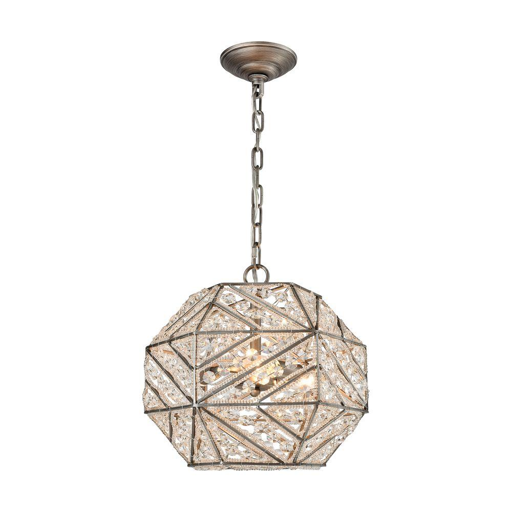 Constructs 3-Light Weathered Zinc Chandelier With Metal And Crystal Shade