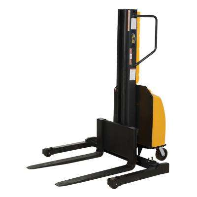 98 in. Narrow Mast Stacker with Power Lift and Adjustable Forks