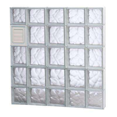 34.75 in. x 34.75 in. x 3.125 in. Wave Pattern Glass Block Window with Dryer Vent