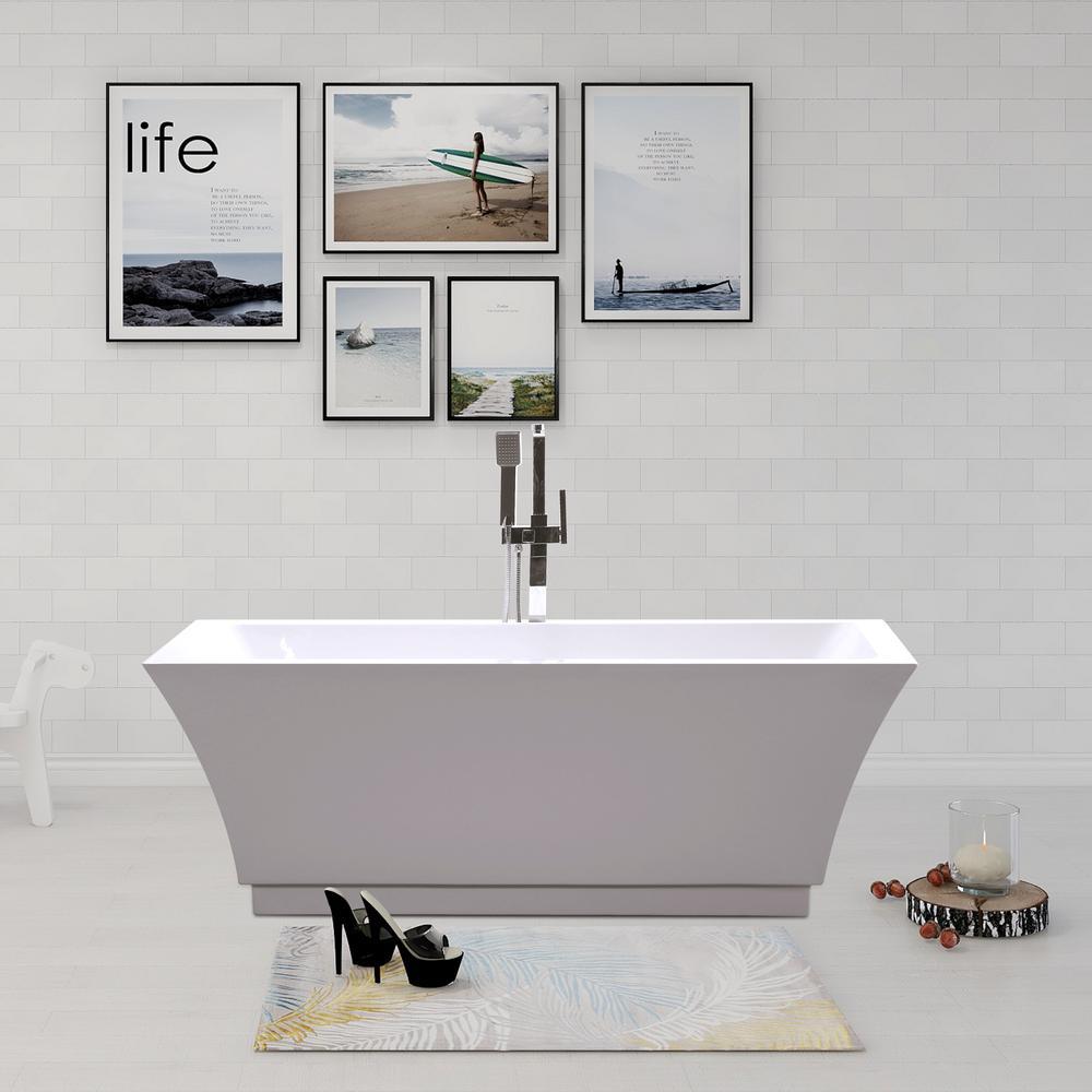 Vanity Art Strasbourg 59 in. Acrylic Flatbottom Freestanding Bathtub in White