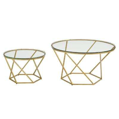 Geometric Glass Nesting Gold Coffee Tables