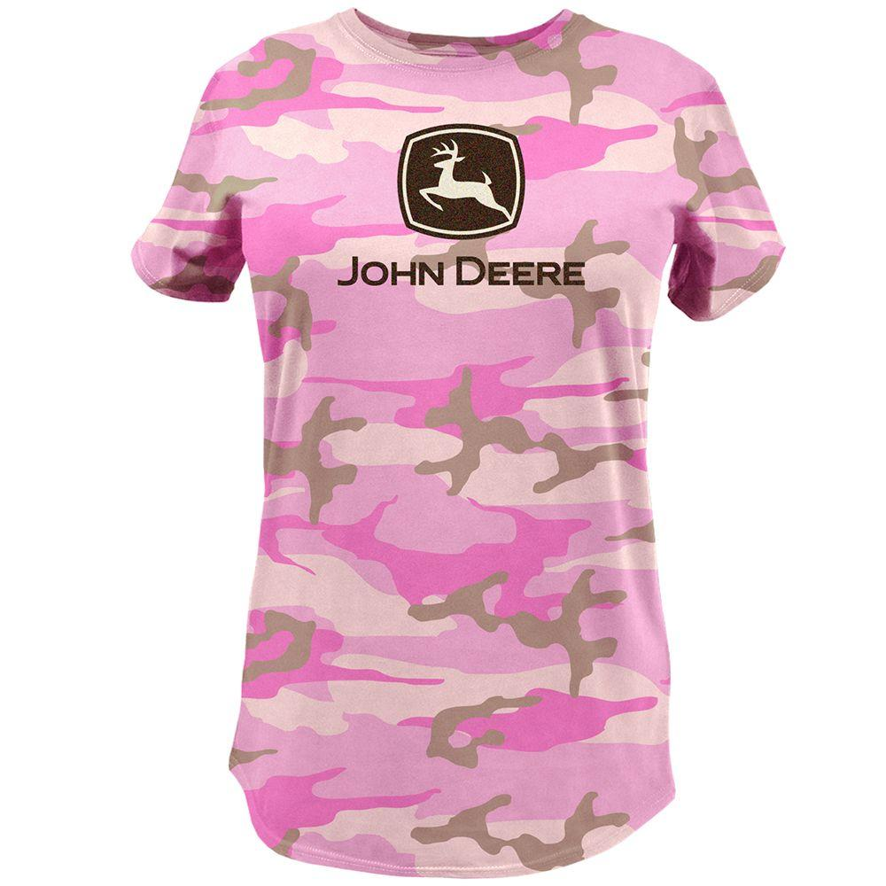 John Deere Ladies Medium Basic Glitter Print Trademark T-Shirt in Pink Camo