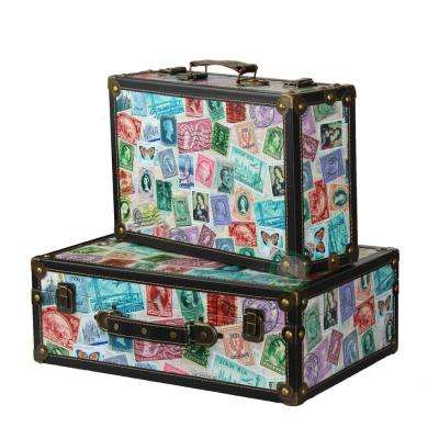 """15.5"""" x 10.5"""" x 5.5"""" Wood and Faux Leather World Stamp Travel Suitcase, Set of 2 Sizes"""