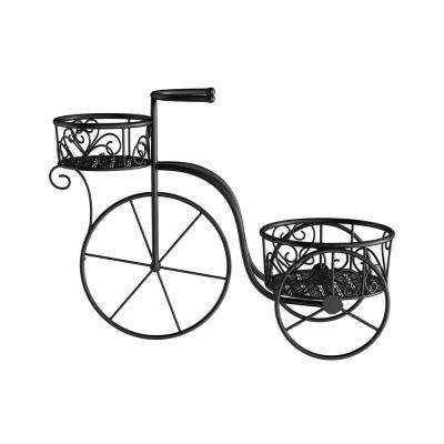 2-Tier Black Metal Decorative Tricycle Plant Stand