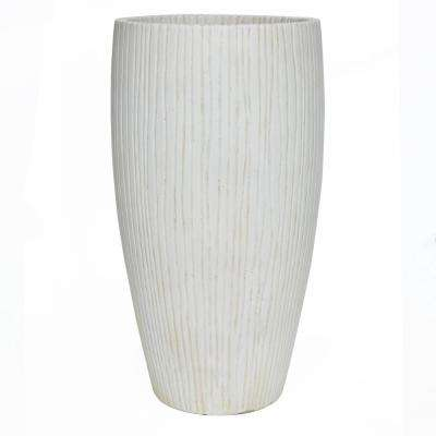 27 in. H City White Compsoite Ribbed Planter