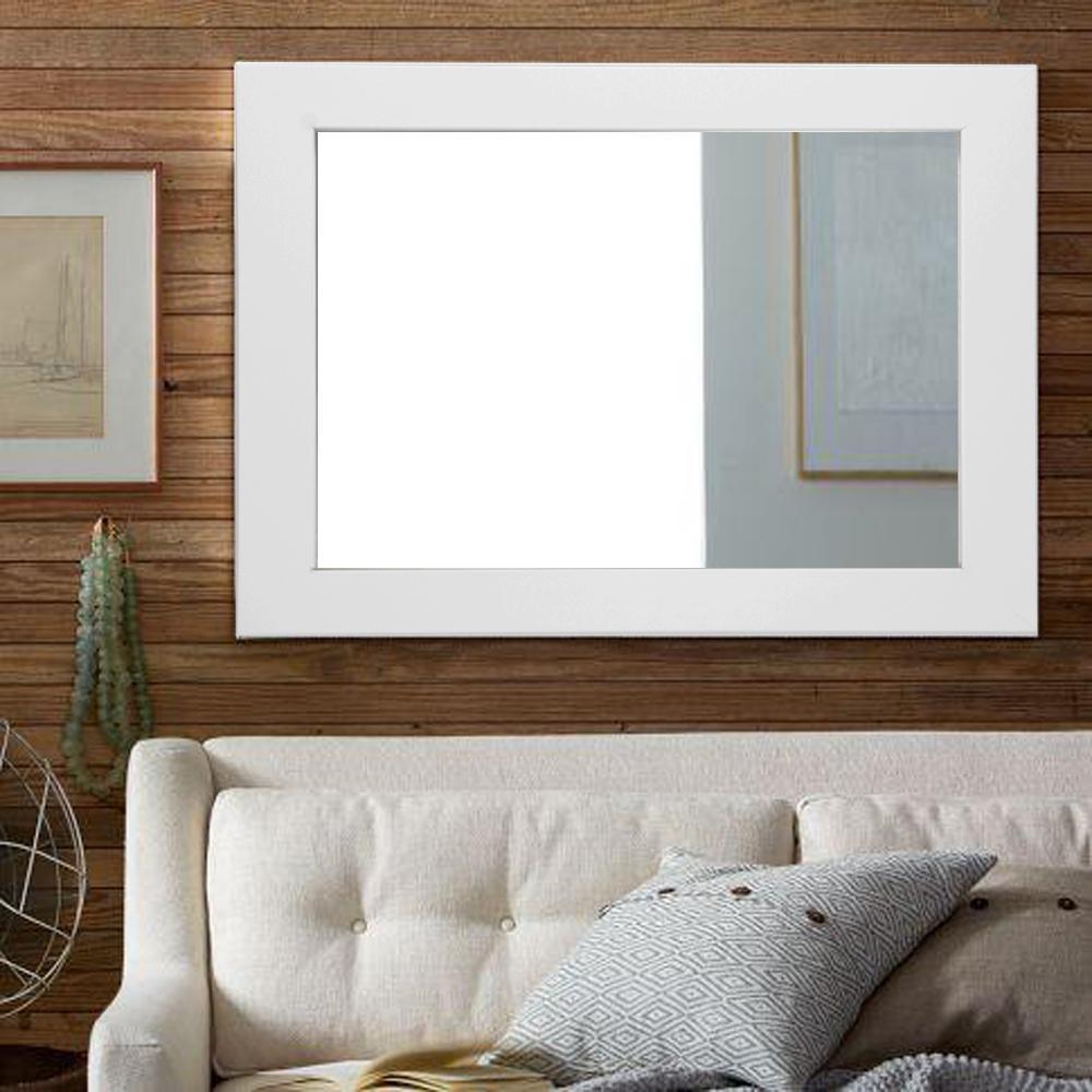 Sofa Decor Matte White Decorative Framed Wall Mirror