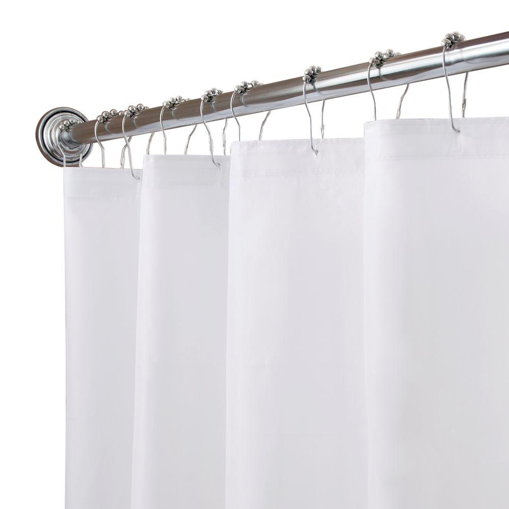 Kenney 70 in. x 72 in. Fabric 100% Polyester Shower Liner in White